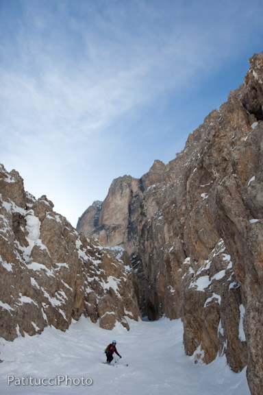 Exiting the Holzer Couloir